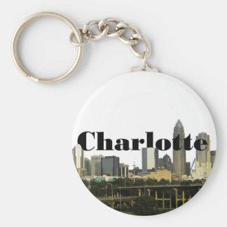 Charlotte NC horisont med Charlotte i himmlen Rund Nyckelring