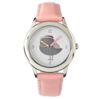 Charmig dam för söt rosa traditionellfågel armbandsur