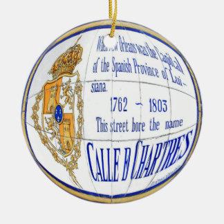 Chartres belägger med tegel rundan julgransprydnad keramik
