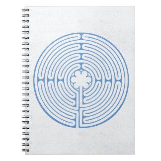 Chartres labyrintblått anteckningsbok med spiral