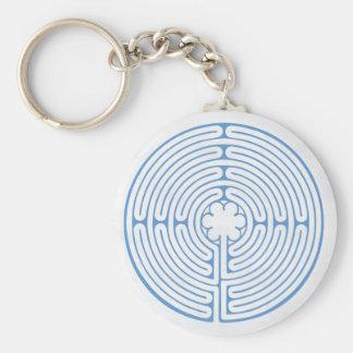 Chartres labyrintblått rund nyckelring