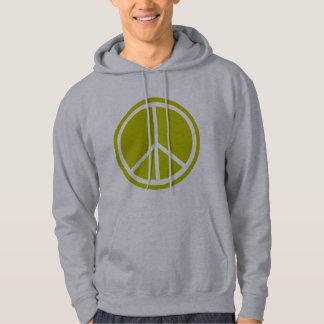 Chartreuse grön fredstecken för klassiker sweatshirt med luva
