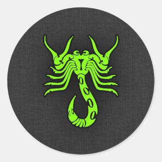 Chartreuse grön Scorpion för neon Runda Klistermärken