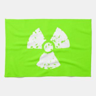 Chartreuse grönt radioaktivt symbol för neon kökshandduk