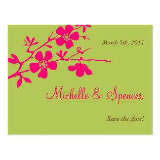 Chartreuse och rosa blommar sparade datumen vykort