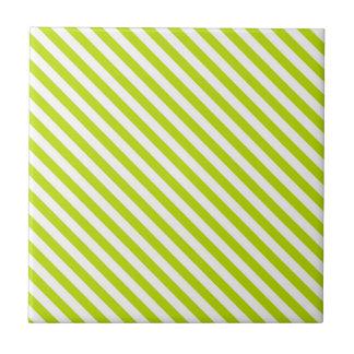 Chartreuse och vitrandar kakelplatta