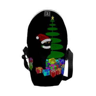 Chatta som är noir med julgranen och gåvor kurir väska