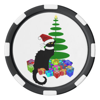 Chatta som är noir med julgranen och gåvor poker marker