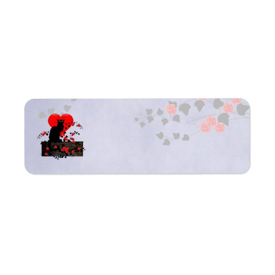 Chatta som är noir med röd ros returadress etikett