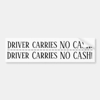 Chauffören bär INGEN pengarar! Dubbel klistermärke