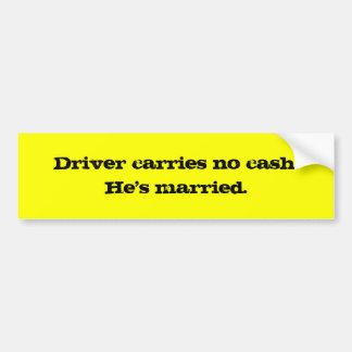 Chauffören bär ingen pengarar. Han har married. Bildekal