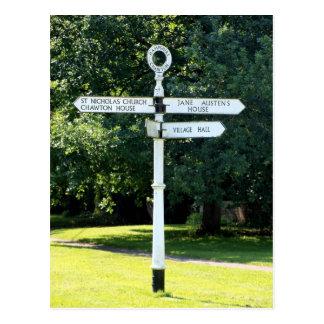 Chawton Signpost Hampshire Vykort