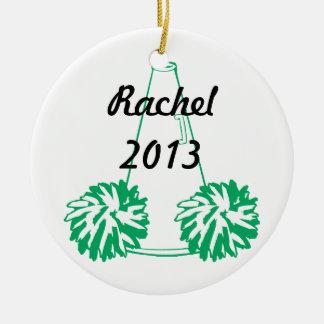 Cheerleading prydnad för anpassningsbargrönt julgransprydnad keramik