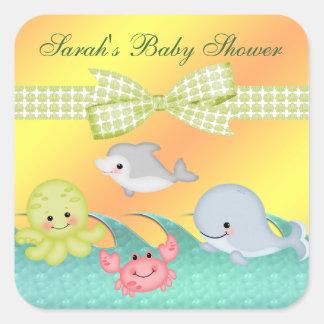 Cheery baby shower för babyhavsvarelser fyrkantigt klistermärke