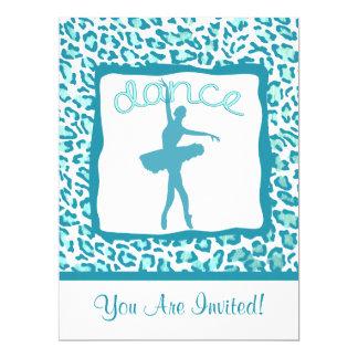 Cheetahtryckdans i turkosinbjudan 16,5 x 22,2 cm inbjudningskort