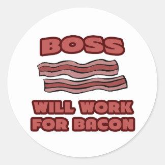 Chef. Ska arbete för bacon Runt Klistermärke