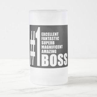 Cheferfödelsedaggåvor: Numrera en chef Frostad Glas Mugg