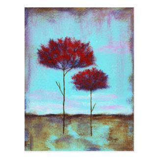 Cherished abstrakt konst landskap röda träd vykort