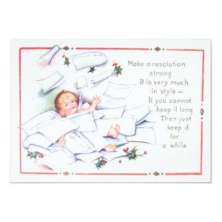 Cherub för ängel för järnek för nytt år för baby 12,7 x 17,8 cm inbjudningskort