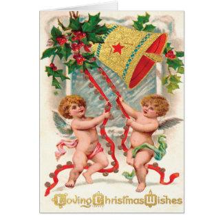 Cherubic änglar för Victorian som ringer i jul Hälsningskort