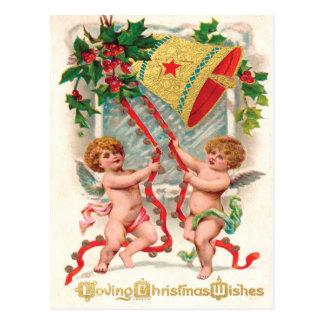 Cherubic änglar för Victorian som ringer i jul Vykort
