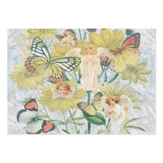 Cherubs, fjärilar och blommor i gult set av breda visitkort