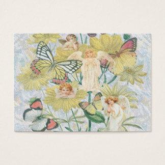 Cherubs, fjärilar och blommor i gult visitkort