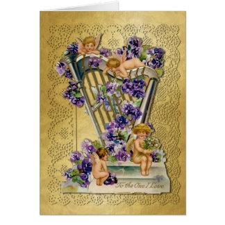 Cherubs harpa, snöre, på guld- vintagevalentin 3 hälsningskort