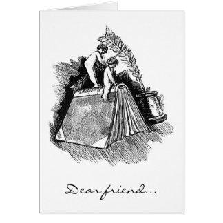 """Cherubs på boken, """"kär vän… """", hälsningskort"""