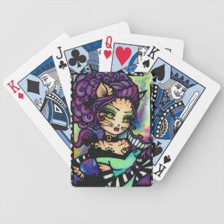 Cheshire katt Alice i underlandkonst som leker kor Spelkort