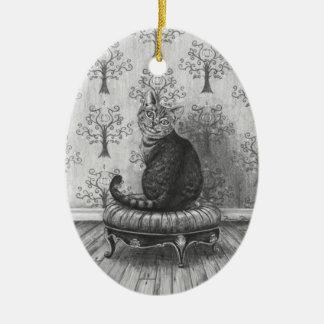 Cheshire kattprydnad Alice i underlandprydnad Julgransprydnad Keramik