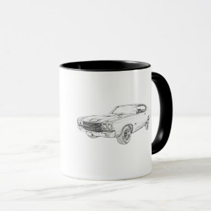 Chevelle Black and White Pencil Teckning Mugg