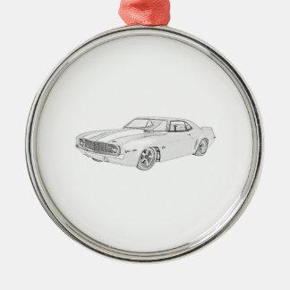 Chevrolet Camaro 1969 ritar stilillustrationen Julgransprydnad Metall