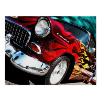 Chevy hot rod 1955 poster