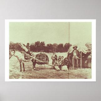 Cheyenne indier på flyttningen, 1878 (b-/wfotoet) poster