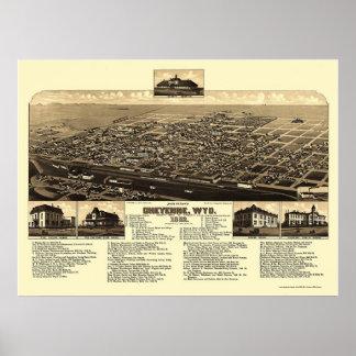 Cheyenne panorama- karta för WY - 1882 Poster