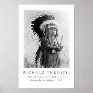Cheyenne pojke i huvudbonad poster
