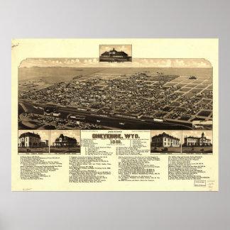 Cheyenne Wyoming 1882 antika panorama- karta Poster