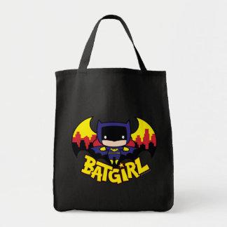 Chibi Batgirl med den Gotham horisont & logotypen Mat Tygkasse