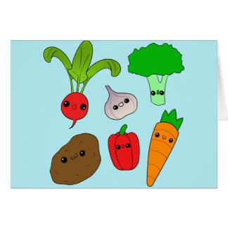 Chibi grönsaker hälsningskort