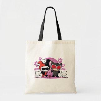 Chibi Harley Quinn & Chibi Catwoman med katter Budget Tygkasse