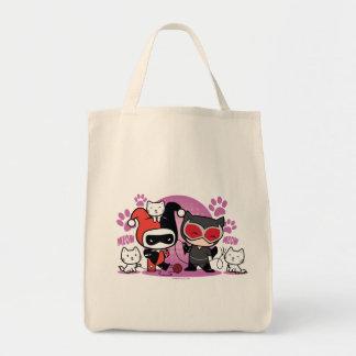 Chibi Harley Quinn & Chibi Catwoman med katter Mat Tygkasse