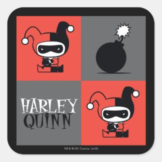 Chibi Harley Quinn kontrollörmönster Fyrkantigt Klistermärke