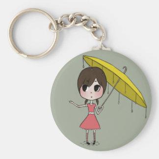 Chibi med paraplyet knäppas rund nyckelring