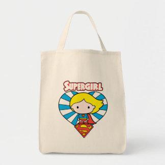 Chibi Supergirl Starburst hjärta och logotyp Mat Tygkasse