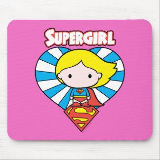 Chibi Supergirl Starburst hjärta och logotyp Musmatta