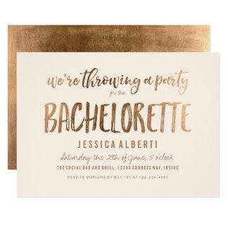 Chic Bachelorette för guld- Shimmer party 12,7 X 17,8 Cm Inbjudningskort