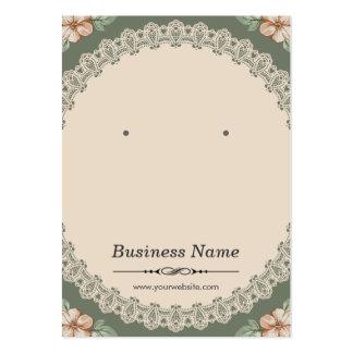 Chic blom- örhängekort för vintage set av breda visitkort