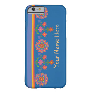 Chic blom- Rangoli gräns på fodral för blåttiPhone Barely There iPhone 6 Fodral