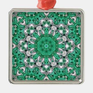 chic bohemisk mandala för Kaleidoscopesmaragdgrönt Julgransprydnad Metall